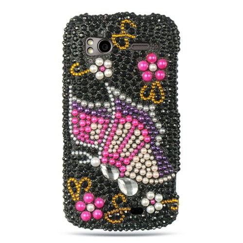 Insten Butterfly Hard 3D Bling Case For HTC Z710e / Sensation 4G / Pyramid, Multi-Color