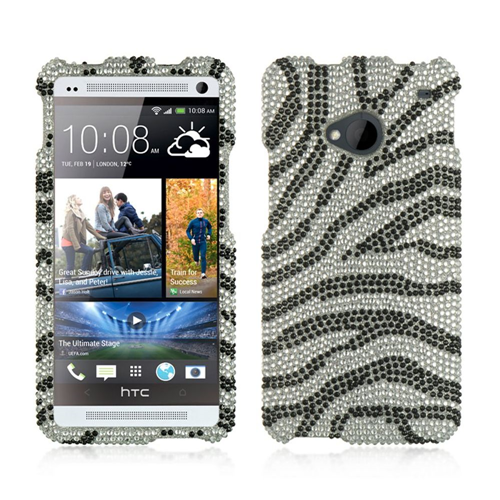 Insten Zebra Hard Bling Cover Case For HTC One M7, Silver/Black