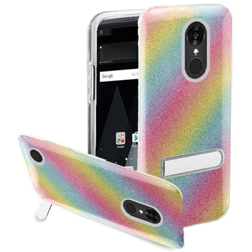 Insten Rainbow Hard Glitter TPU Cover Case w/stand For LG Aristo/K8 (2017), Colorful