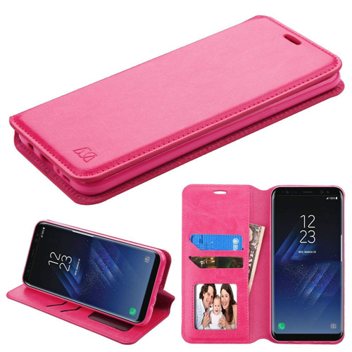 Insten Folio Leather Fabric Case w/stand/card slot/Photo Display For Samsung Galaxy S8, Hot Pink