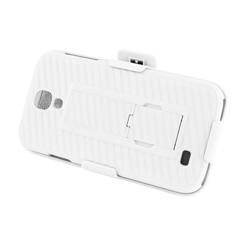 Insten Hard Rubber Cover Case w/stand/Holster For Samsung Galaxy S4, White