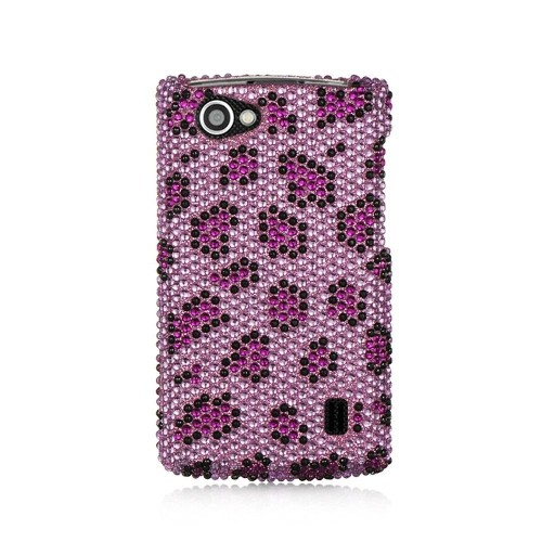 Insten Leopard Hard Diamond Cover Case For LG Optimus M+, Purple