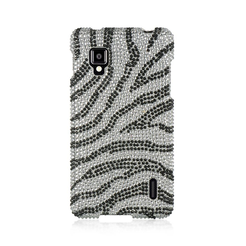 Insten Zebra Hard Bling Case For LG Optimus G LS970 Sprint, Silver/Black
