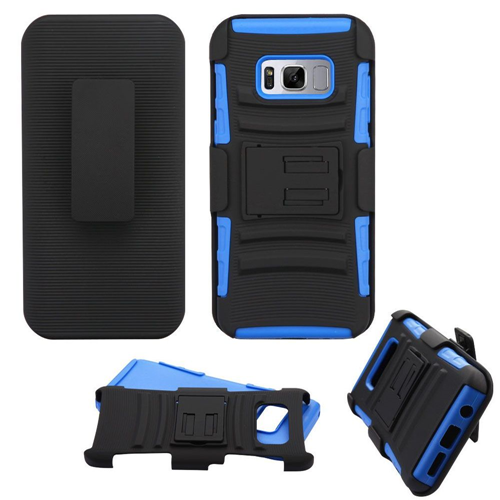 Insten Advanced Armor Hard Hybrid TPU Cover Case w/stand/Holster For Samsung Galaxy S8, Black/Blue