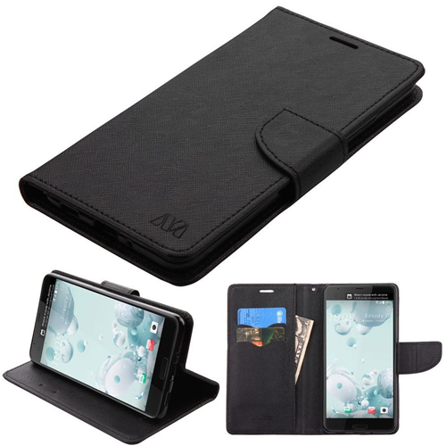 Insten Book-Style Leather Fabric Cover Case w/stand/card slot For HTC U Ultra, Black