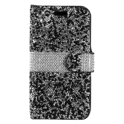 Insten Folio Leather Bling Cover Case w/card holder For Samsung Galaxy S8, Black/Silver