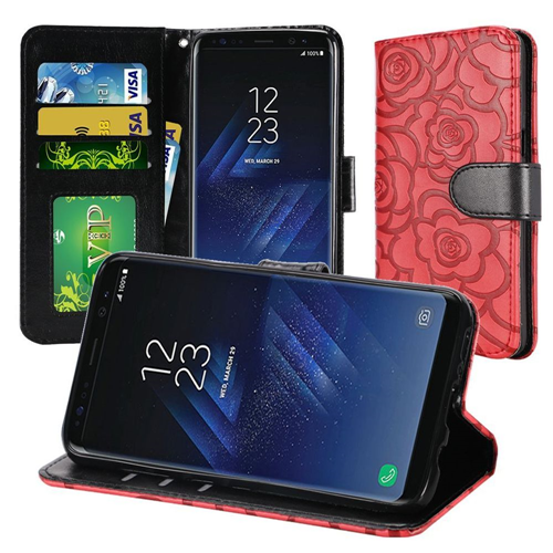 Insten Rose Book-Style Leather Fabric Case Lanyard w/stand For Samsung Galaxy S8 Plus, Red/Black