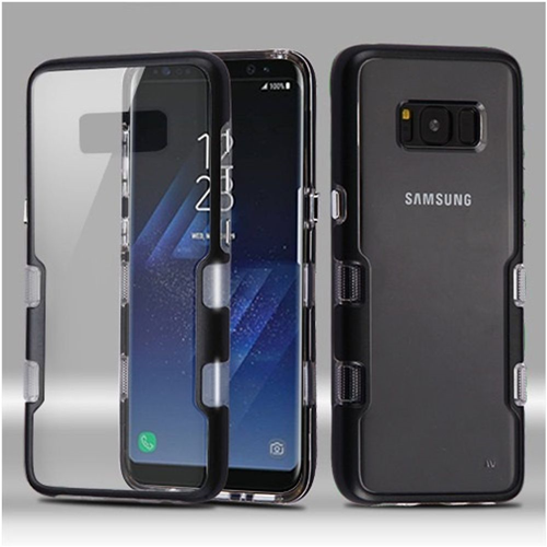 Insten Tuff Hard Hybrid Plastic TPU Case For Samsung Galaxy S8, Clear/Black