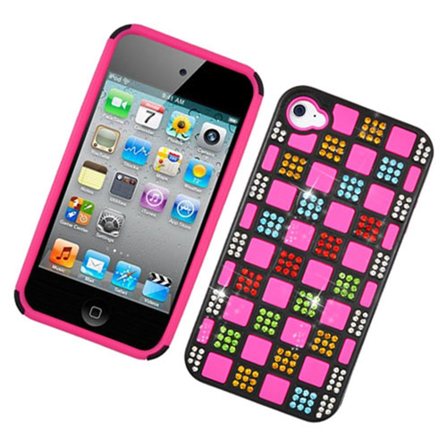 Insten Checker Hard Rhinestone Case For Apple iPhone 4/4S, Multi-Color/Hot Pink