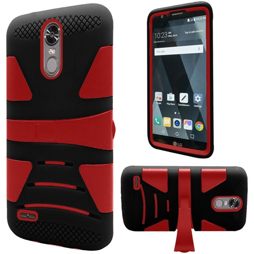 Insten Hard Hybrid TPU Case w/stand For LG Stylo 3, Black/Red