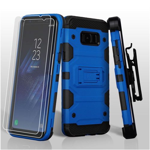 Insten Tank Hard Hybrid Case Lanyard w/stand/Bundled For Samsung Galaxy S8 Plus, Blue/Black