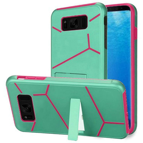 Insten Hard Hybrid Plastic TPU Cover Case w/stand For Samsung Galaxy S8, Teal/Hot Pink