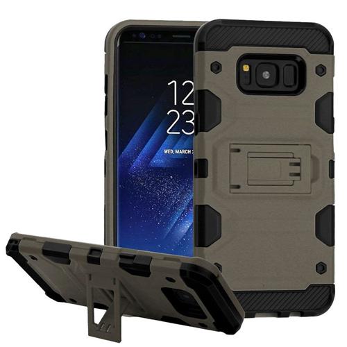 Insten Tank Hard Dual Layer Plastic TPU Case w/stand For Samsung Galaxy S8 Plus, Dark Gray/Black