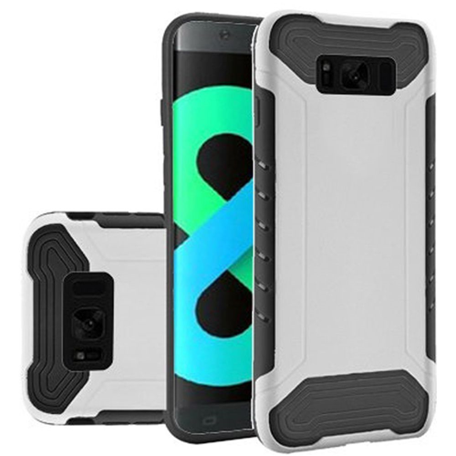 Insten Slim Armor Hard Dual Layer Plastic TPU Cover Case For Samsung Galaxy S8 Plus, White/Black