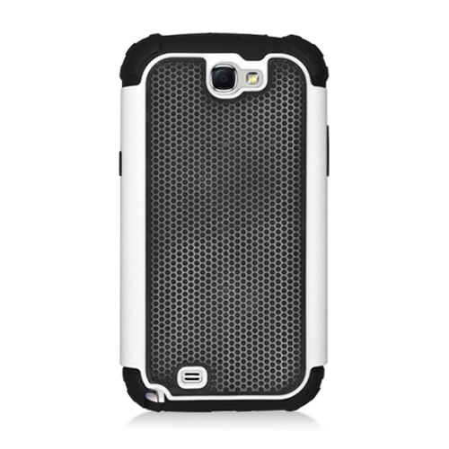 Insten Armor Vision Hard Hybrid Rubber Coated Silicone Case For Samsung Galaxy Note II, Black/White