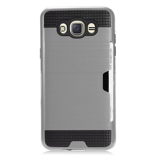 Insten Chrome Brushed Hard Case w/card slot For Samsung Galaxy J7 (2016), Gray/Black