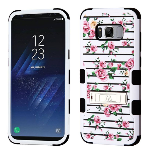 Insten Tuff Roses Hard Dual Layer Plastic TPU Cover Case For Samsung Galaxy S8 Plus, Multi-Color