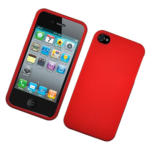 Insten Hard Rubberized Case For Apple iPhone 4/4S, Red