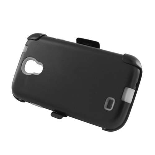 Insten Hard Plastic Silicone Cover Case w/Holster For Samsung Galaxy S4, Black/White