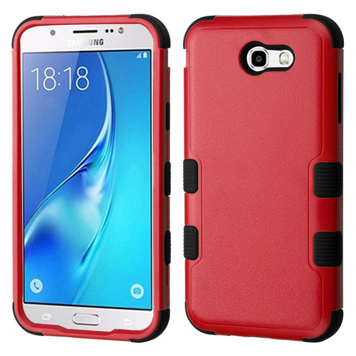 Insten Hard Plastic TPU Case For Samsung Galaxy J7 (2017)/J7 Perx/J7 Sky Pro/J7 V, Red/Black
