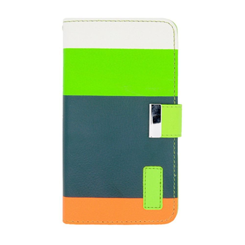 Insten Multicolor Flip Leather Fabric Case w/card holder For Samsung Galaxy Note 3, Green/Orange