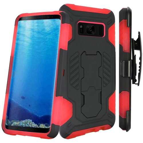Insten SuperCoil Hard Dual Layer Plastic Case w/stand/Holster For Samsung Galaxy S8, Black/Red