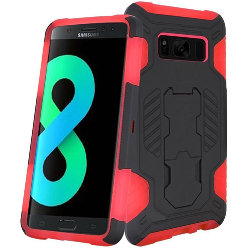 Insten SuperCoil Hard Dual Layer Plastic Case w/stand For Samsung Galaxy S8 Plus, Black/Red