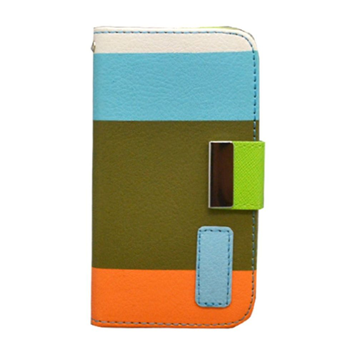 Insten Multicolor Flip Leather Fabric Cover Case w/card slot For Apple iPhone 4/4S, Green/Blue