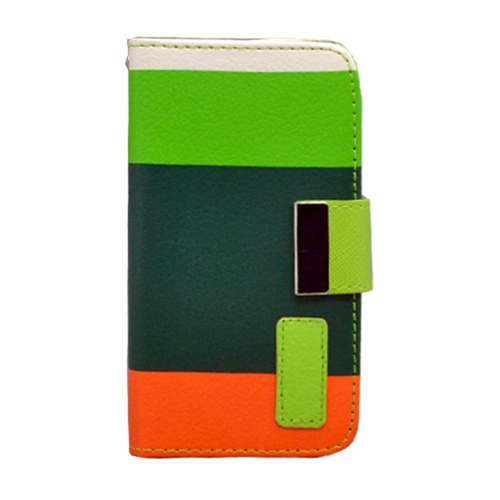 Insten Multicolor Book-Style Leather Fabric Case w/card slot For Apple iPhone 4/4S, Green/Orange