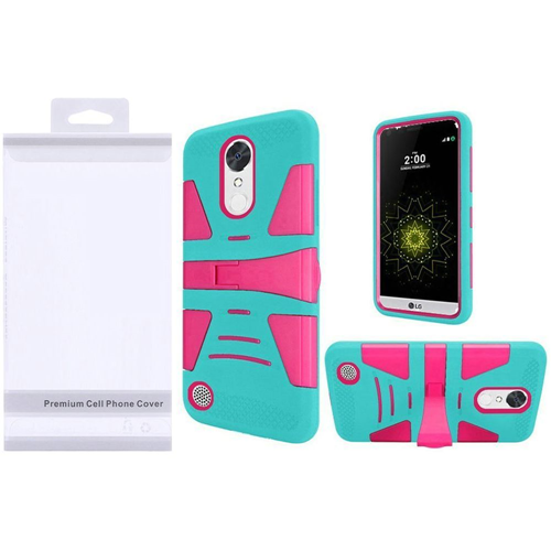 Insten Hard Plastic Silicone Case w/stand For LG Grace 4G/Harmony/K20 Plus/K20 V, Hot Pink/Teal