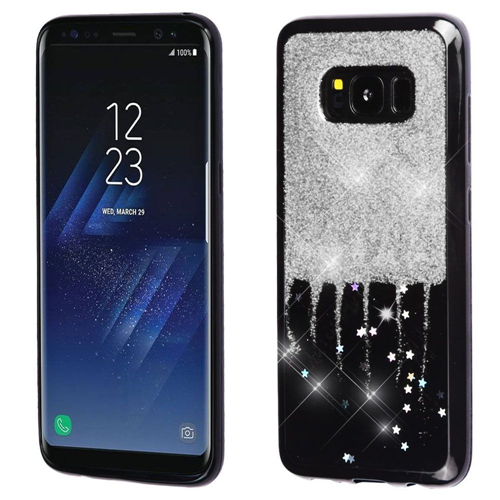 Insten Glitter Stars Rubber Cover Case For Samsung Galaxy S8, Silver/Black