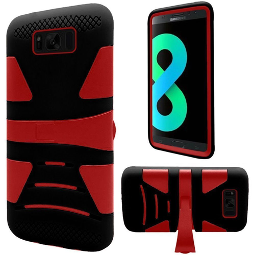 Insten Hard Hybrid Plastic TPU Cover Case w/stand For Samsung Galaxy S8 Plus, Red/Black