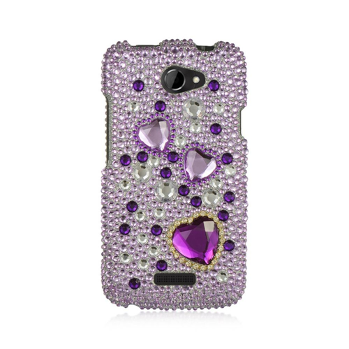Insten Hearts Hard 3D Diamante Cover Case For HTC One X, Purple