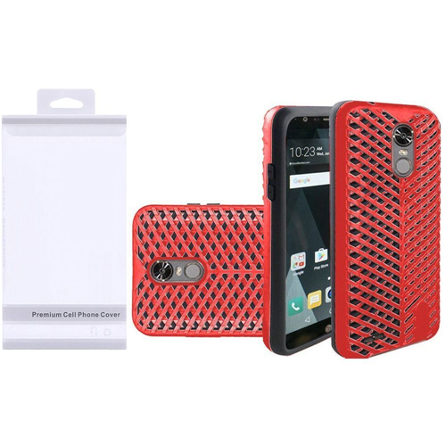 Insten ZigZag Hard Dual Layer TPU Cover Case For LG Stylo 3, Red/Black