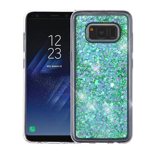 Insten Quicksand Hearts Hard Glitter Case For Samsung Galaxy S8, Blue
