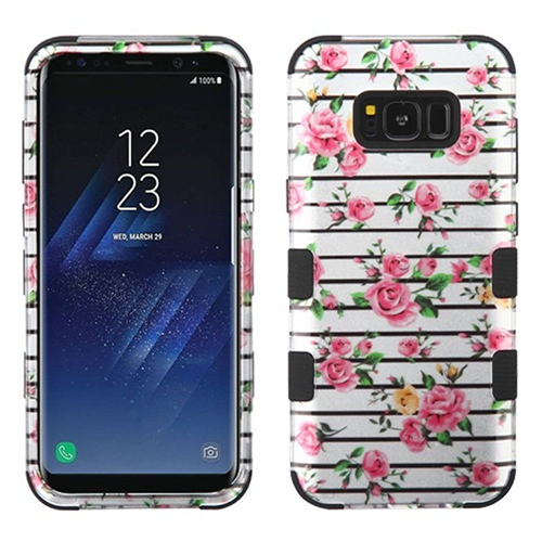 Insten Tuff Fresh Roses Hard Hybrid Rubber Silicone Case For Samsung Galaxy S8, White/Pink