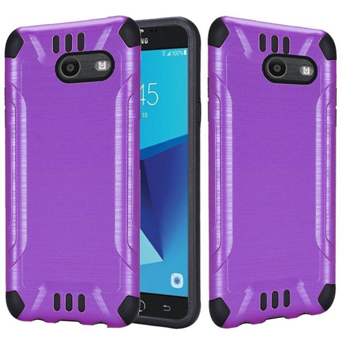 Insten Hard Dual Layer Brushed Case For Samsung Galaxy Halo/J7 (2017)/J7 Perx/J7 Prime, Purple/Black