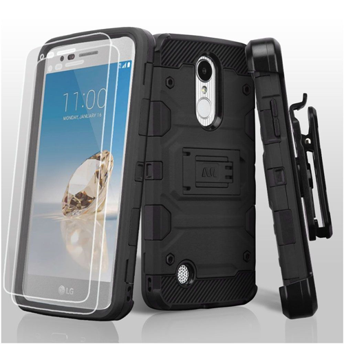 Insten Tank Hard TPU Case w/stand For LG Aristo/Fortune/K4 (2017)/K8 (2017)/LV3/Phoenix 3, Black