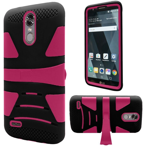 Insten Hard Dual Layer TPU Case w/stand For LG Stylo 3, Black/Hot Pink
