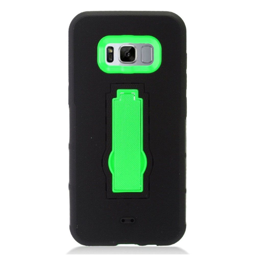 Insten Symbiosis Soft Rubber Hard Cover Case w/stand For Samsung Galaxy S8, Black/Green