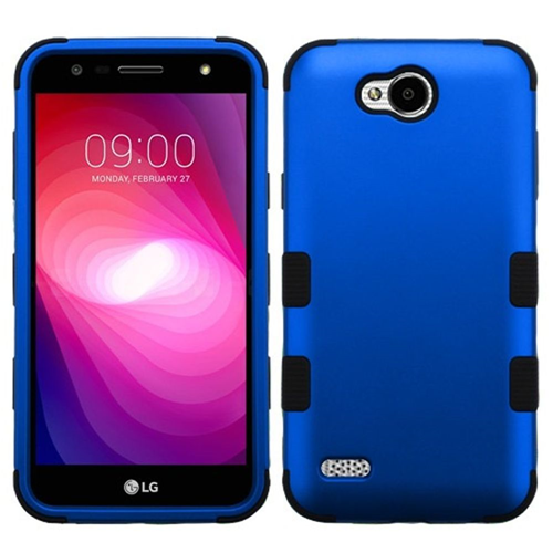 Insten Tuff Hard Hybrid Metallic TPU Cover Case For LG X Power 2, Blue/Black