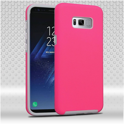 Insten Dotted Hard Dual Layer TPU Case For Samsung Galaxy S8, Hot Pink