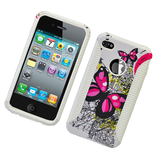 Insten Butterflies Hard Hybrid Plastic TPU Case For Apple iPhone 4/4S, Multi-Color