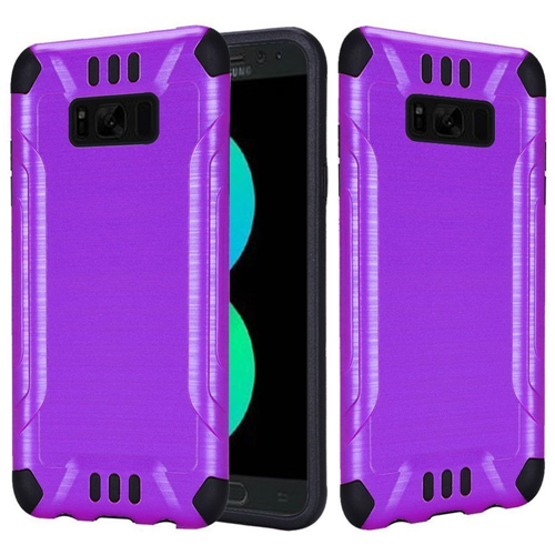Insten Hard Hybrid Brushed TPU Cover Case For Samsung Galaxy S8 Plus, Purple/Black