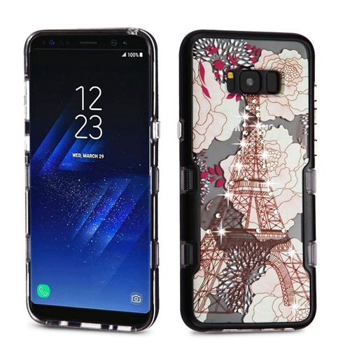 Insten Eiffel Tower Hard Plastic TPU Case w/Diamond For Samsung Galaxy S8 Plus, Multi-Color