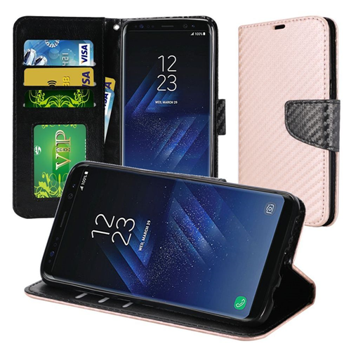 Insten Carbon Fiber Folio Leather Fabric Case w/stand For Samsung Galaxy S8 Plus, Rose Gold/Black