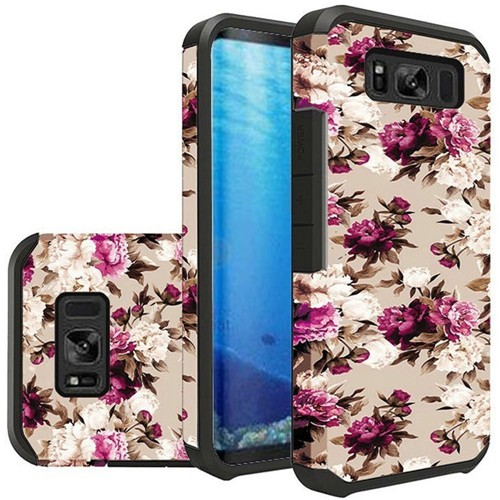 Insten Slim Roses Hard Dual Layer Plastic TPU Case For Samsung Galaxy S8, Multi-Color