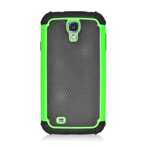 Insten Armor Vision Hard Dual Layer Silicone Cover Case For Samsung Galaxy S4, Black/Green