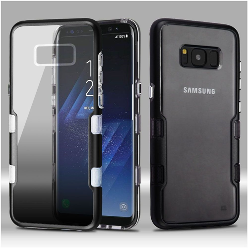 Insten Tuff Hard Hybrid Metallic TPU Case For Samsung Galaxy S8, Black/Smoke