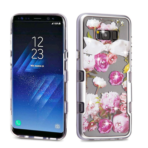 Insten Tuff Roses Hard Hybrid Plastic TPU Cover Case w/Diamond For Samsung Galaxy S8, Multi-Color